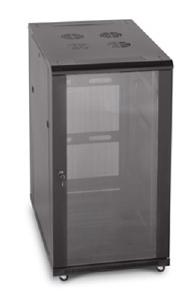 "LINIER 22U 19"" Cabinet with Glass Front and Vented Rear Doors"