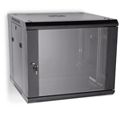 "LINIER 9U 19"" Wall Mount Cabinet with Glass Door"