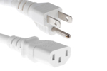 AC power cord, 5-15p to C13, 18 AWG, 2', White