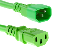 AC Power Cord, C13 to C14, 18 AWG, 6', Green