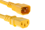 AC Power Cord, C13 to C14, 18 AWG, 6', Yellow
