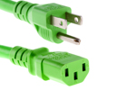 AC Power cord, 5-15P to C13, 14 AWG, 2ft, Green
