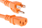 AC power cord, 5-15p to C13, 14 AWG, 3ft, Orange