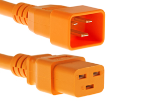 AC power cord, C20 to C19, 12 AWG, 10', Orange