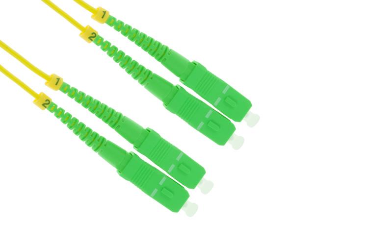 SC/APC to SC/APC Singlemode Duplex Fiber Patch Cable, 1M