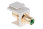 Keystone Snap In Green RCA Type F/F Module, White
