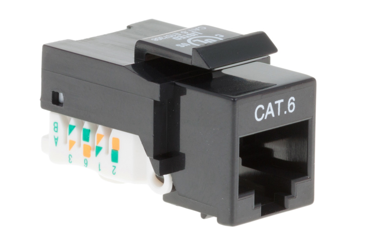 Cat6 Tool Less RJ45 Keystone Jack, Black