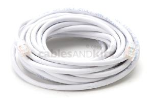 CAT5e Ethernet Patch Cable, Non-Booted, 20 Foot, White