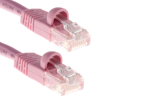 CAT5e Ethernet Patch Cable, Snagless, 2 Foot, Pink