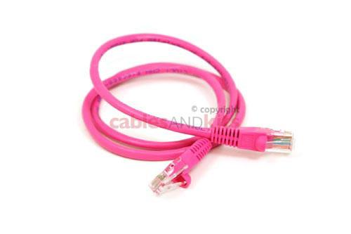 CAT5e Ethernet Patch Cable, Booted, 3ft, Pink