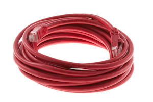 Cat5e Crossover Ethernet Patch Cable, Snagless, 15', Red