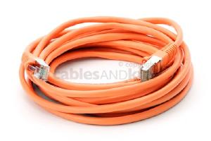 CAT5e Shielded Ethernet Patch Cable, Snagless, 15 Foot, Orange