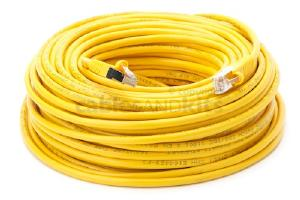 CAT5e Shielded Ethernet Patch Cable, Snagless, 100 Foot, Yellow