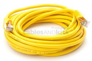 CAT5e Shielded Ethernet Patch Cable, Snagless, 25 Foot, Yellow