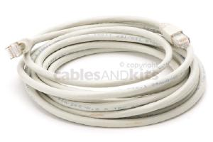 CAT6A Ethernet Patch Cable, Snagless, 15', Gray