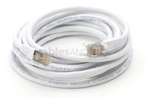 CAT6 Shielded Ethernet Patch Cable, Snagless, 15 Foot, White