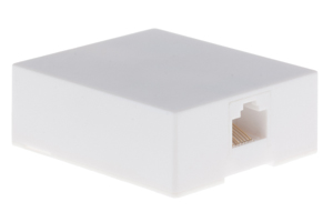 RJ45 Single Port Cat5e Surface Mount Jack White