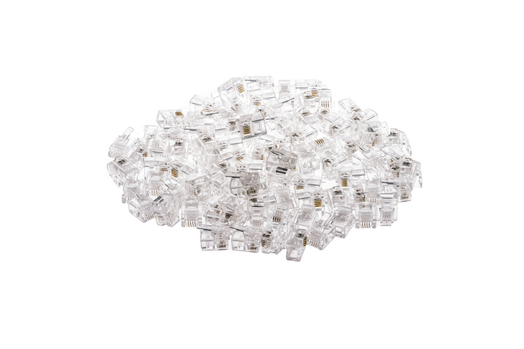 Modular Phone Plugs/Connectors for Solid Wire, 6P4C, Qty 100