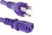 AC power cord, 5-15p to C13, 14 AWG, 2', Purple