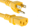 AC power cord, 5-15p to C13, 14 AWG, 2ft, Yellow