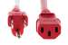 AC power cord, 5-15p to C13, 14 AWG, 3', Red
