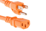 AC power cord, 5-15p to C13, 14 AWG, 6ft, Orange