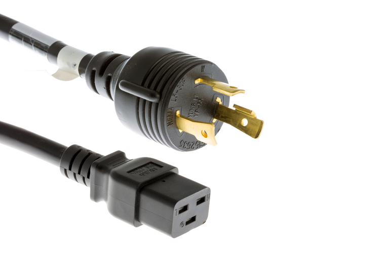 AC Power Cord, L5-30P to C19, 12 AWG, 8'