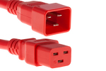 AC power cord, C20 to C19, 12 AWG, 3', Red