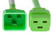 AC power cord, C20 to C19, 12 AWG, 10ft, Green