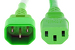 AC Power Cord, C13 to C14, 14 AWG, 2', Green