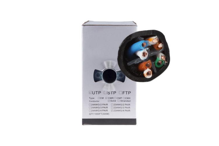 Cat6 Ethernet Cable, 1000' Pull Box, 550MHZ UTP, Black