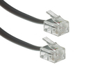 RJ11 Straight Modular Telephone Cable, Silver, 50ft