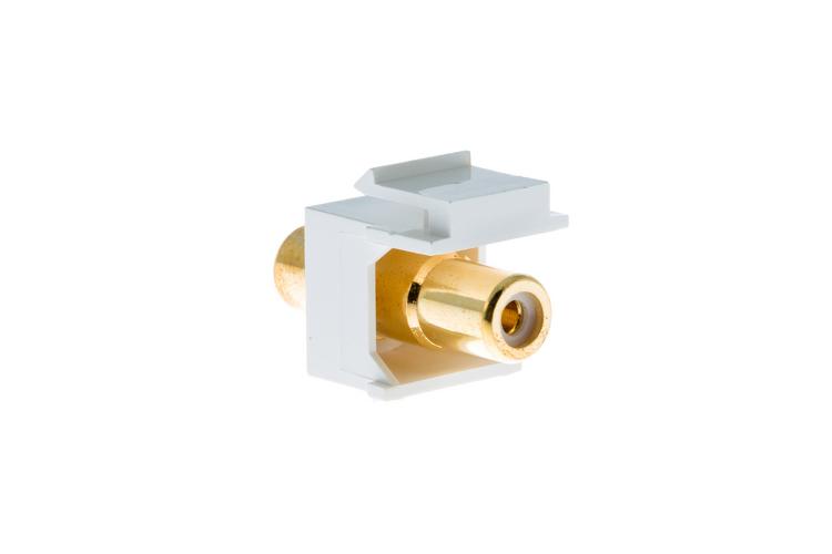 Keystone Snap In White RCA Type F/F Module, White