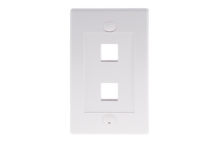 Decorative Keystone Wall Plate, 2 Port, White
