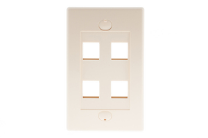 Decorative Keystone Wall Plate, 4 Port, Beige / Ivory