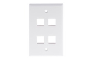 Keystone Wall Plate, 4 Port, White