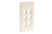 Decorative Keystone Wall Plate, 6 Port, Beige / Ivory
