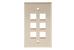Keystone Wall Plate, 6 Port, Beige / Ivory