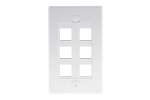 Decorative Keystone Wall Plate, 6 Port, White