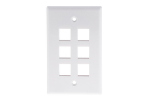 Keystone Wall Plate, 6 Port, White