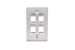 Decorative Keystone Wall Plate, 4 Port, White