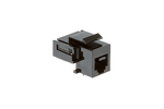 RJ11/12 (Cat 3) Tool Less Keystone Jack, Black