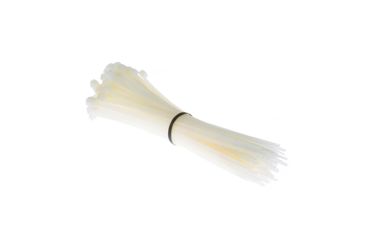 "8"" Nylon Cable Ties, White (Qty 100)"
