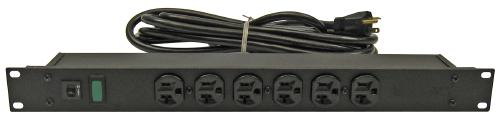 Great Lakes Rack Mount 6 Position Power Strip, 20A/125V