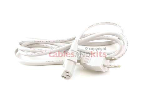 AC Power Cord, 5-15P to C13, 18 AWG, 6ft, White