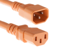AC Power Cord, C13 to C14, 18 AWG, 10ft, Orange