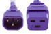AC power cord, C14 to C19, 14 AWG 2ft, Purple