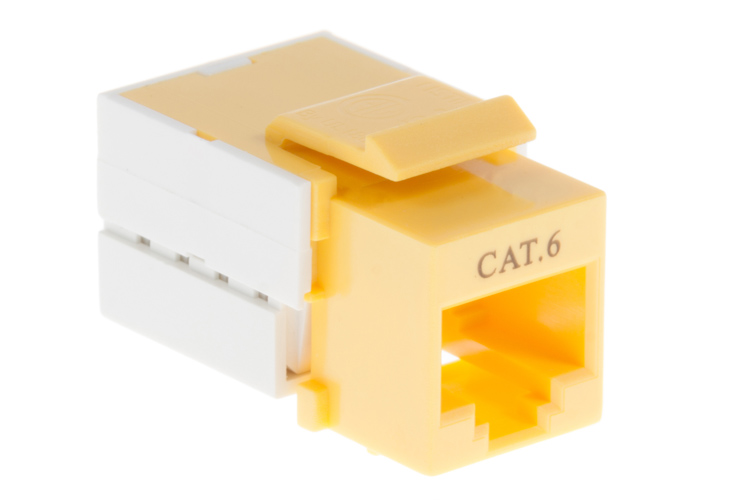 Cat6 RJ45 110 Type Keystone Jack, Yellow