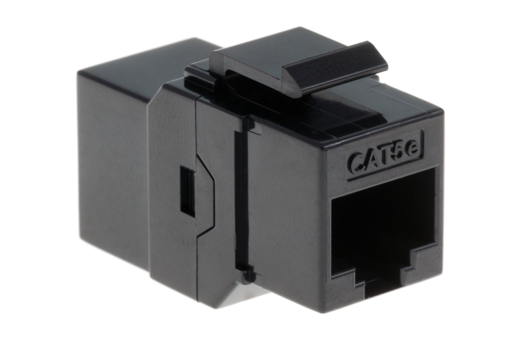 Cat5e RJ45 Inline Coupler Type Keystone Jack, Black