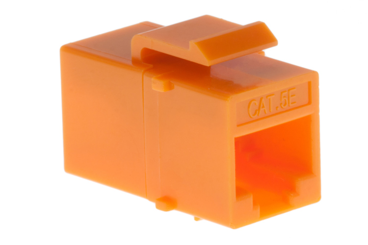 Cat5e RJ45 Inline Coupler Type Keystone Jack, Orange